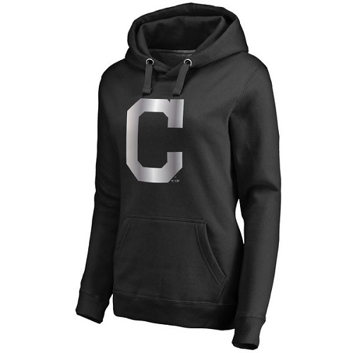 MLB Cleveland Indians Women's Platinum Collection Pullover Hoodie - Black