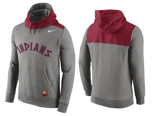 MLB Men's Cleveland Indians Nike Gray Cooperstown Collection Hybrid Pullover Hoodie