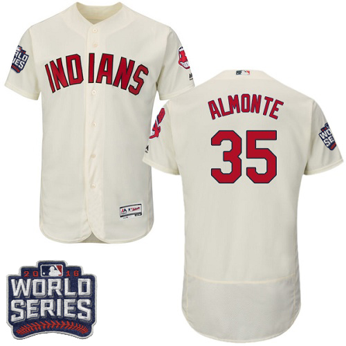 Men's Majestic Cleveland Indians #35 Abraham Almonte Cream 2016 World Series Bound Flexbase Authentic Collection MLB Jersey