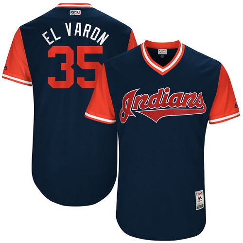 Men's Majestic Cleveland Indians #35 Abraham Almonte