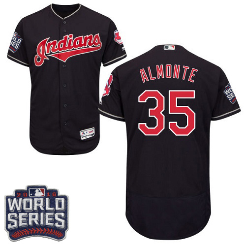 Men's Majestic Cleveland Indians #35 Abraham Almonte Navy Blue 2016 World Series Bound Flexbase Authentic Collection MLB Jersey