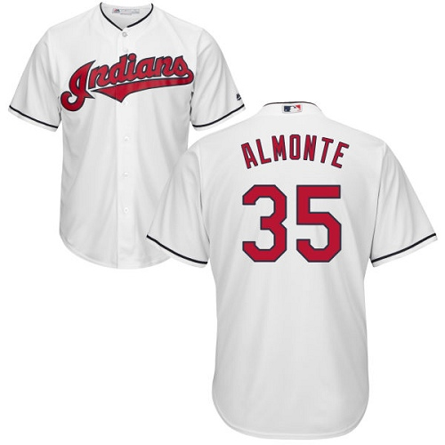 Men's Majestic Cleveland Indians #35 Abraham Almonte Replica White Home Cool Base MLB Jersey