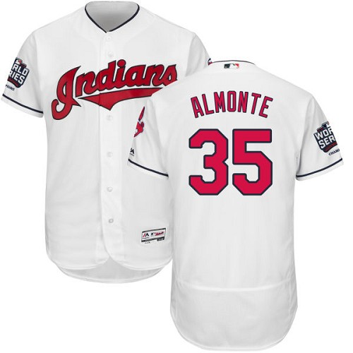 Men's Majestic Cleveland Indians #35 Abraham Almonte White 2016 World Series Bound Flexbase Authentic Collection MLB Jersey