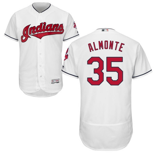 Men's Majestic Cleveland Indians #35 Abraham Almonte White Home Flex Base Authentic Collection MLB Jersey