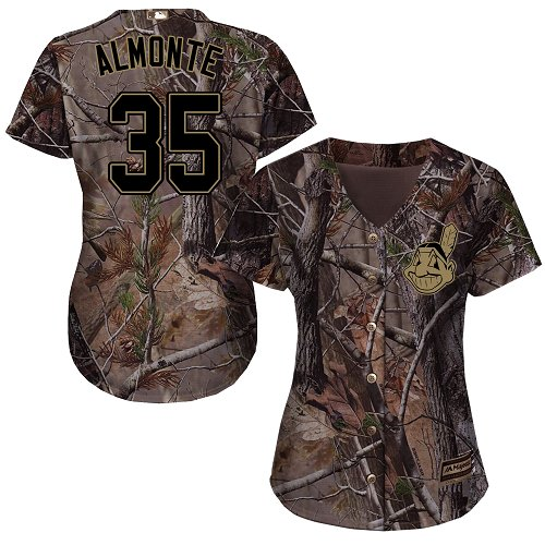 Women's Majestic Cleveland Indians #35 Abraham Almonte Authentic Camo Realtree Collection Flex Base MLB Jersey