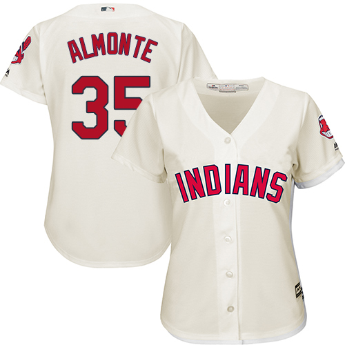 Women's Majestic Cleveland Indians #35 Abraham Almonte Authentic Cream Alternate 2 Cool Base MLB Jersey