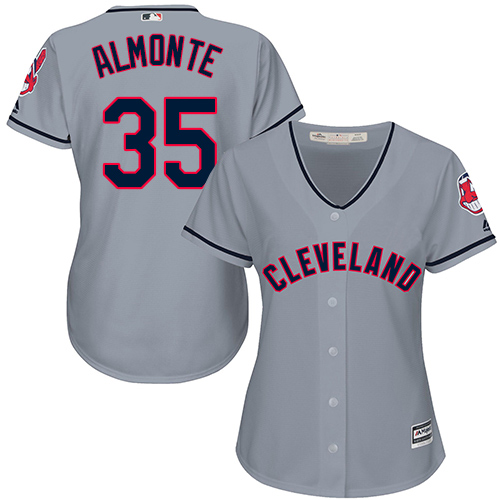 Women's Majestic Cleveland Indians #35 Abraham Almonte Authentic Grey Road Cool Base MLB Jersey