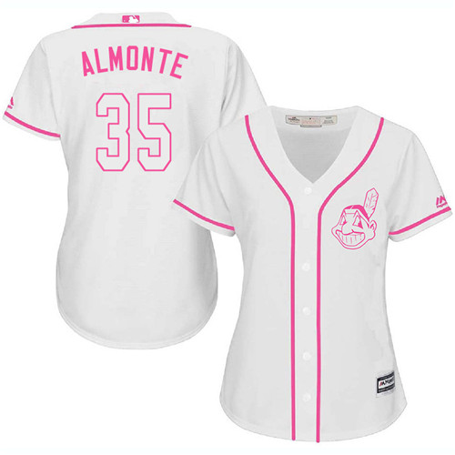 Women's Majestic Cleveland Indians #35 Abraham Almonte Authentic White Fashion Cool Base MLB Jersey