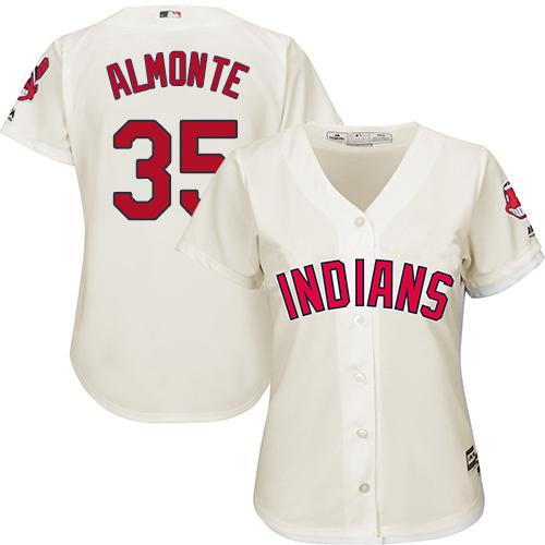 Women's Majestic Cleveland Indians #35 Abraham Almonte Replica Cream Alternate 2 Cool Base MLB Jersey