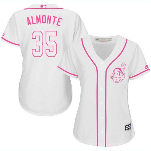 Women's Majestic Cleveland Indians #35 Abraham Almonte Replica White Fashion Cool Base MLB Jersey