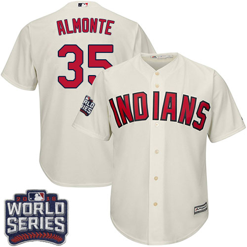Youth Majestic Cleveland Indians #35 Abraham Almonte Authentic Cream Alternate 2 2016 World Series Bound Cool Base MLB Jersey