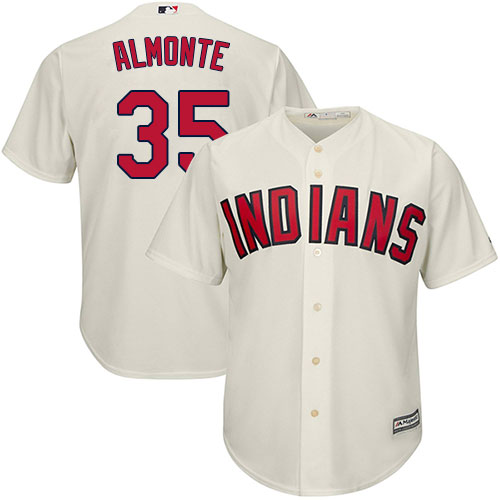 Youth Majestic Cleveland Indians #35 Abraham Almonte Authentic Cream Alternate 2 Cool Base MLB Jersey