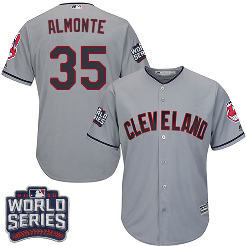 Youth Majestic Cleveland Indians #35 Abraham Almonte Authentic Grey Road 2016 World Series Bound Cool Base MLB Jersey