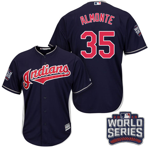 Youth Majestic Cleveland Indians #35 Abraham Almonte Authentic Navy Blue Alternate 1 2016 World Series Bound Cool Base MLB Jersey