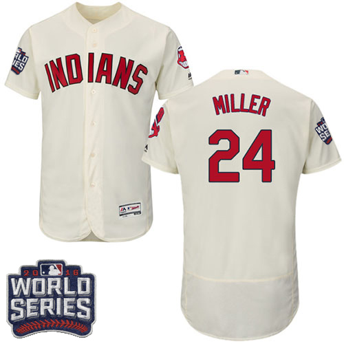 Men's Majestic Cleveland Indians #24 Andrew Miller Cream 2016 World Series Bound Flexbase Authentic Collection MLB Jersey