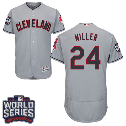 Men's Majestic Cleveland Indians #24 Andrew Miller Grey 2016 World Series Bound Flexbase Authentic Collection MLB Jersey