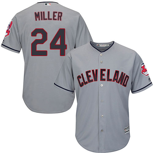 Men's Majestic Cleveland Indians #24 Andrew Miller Replica Grey Road Cool Base MLB Jersey