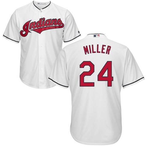 Men's Majestic Cleveland Indians #24 Andrew Miller Replica White Home Cool Base MLB Jersey