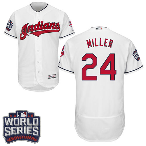 Men's Majestic Cleveland Indians #24 Andrew Miller White 2016 World Series Bound Flexbase Authentic Collection MLB Jersey