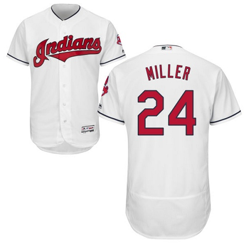 Men's Majestic Cleveland Indians #24 Andrew Miller White Flexbase Authentic Collection MLB Jersey