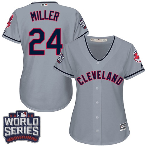 Women's Majestic Cleveland Indians #24 Andrew Miller Authentic Grey Road 2016 World Series Bound Cool Base MLB Jersey