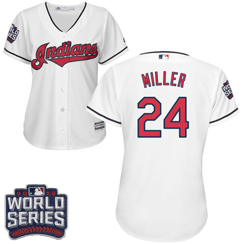 Women's Majestic Cleveland Indians #24 Andrew Miller Authentic White Home 2016 World Series Bound Cool Base MLB Jersey