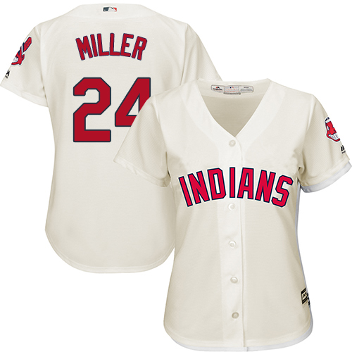 Women's Majestic Cleveland Indians #24 Andrew Miller Replica Cream Alternate 2 Cool Base MLB Jersey