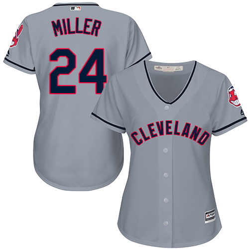 Women's Majestic Cleveland Indians #24 Andrew Miller Replica Grey Road Cool Base MLB Jersey