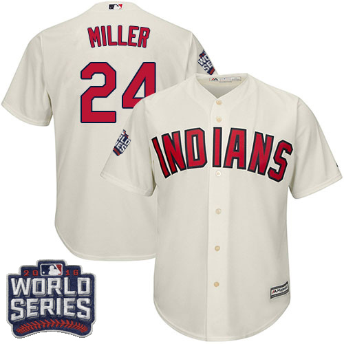 Youth Majestic Cleveland Indians #24 Andrew Miller Authentic Cream Alternate 2 2016 World Series Bound Cool Base MLB Jersey