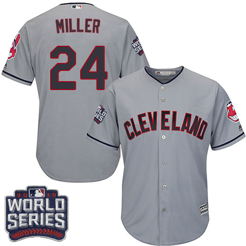 Youth Majestic Cleveland Indians #24 Andrew Miller Authentic Grey Road 2016 World Series Bound Cool Base MLB Jersey