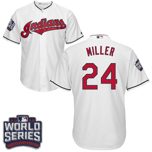Youth Majestic Cleveland Indians #24 Andrew Miller Authentic White Home 2016 World Series Bound Cool Base MLB Jersey