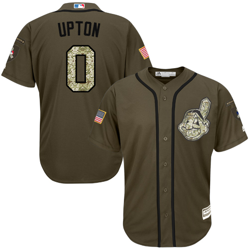 Men's Majestic Cleveland Indians #0 B.J. Upton Authentic Green Salute to Service MLB Jersey