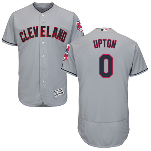 Men's Majestic Cleveland Indians #0 B.J. Upton Grey Road Flex Base Authentic Collection MLB Jersey