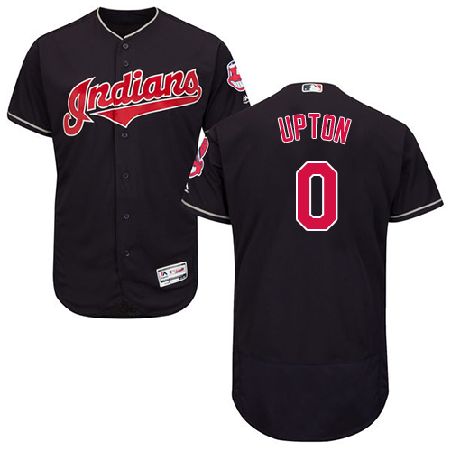 Men's Majestic Cleveland Indians #0 B.J. Upton Navy Blue Alternate Flex Base Authentic Collection MLB Jersey
