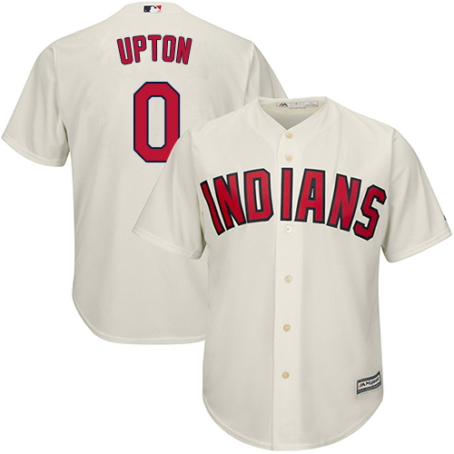 Men's Majestic Cleveland Indians #0 B.J. Upton Replica Cream Alternate 2 Cool Base MLB Jersey