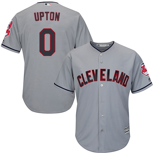 Men's Majestic Cleveland Indians #0 B.J. Upton Replica Grey Road Cool Base MLB Jersey