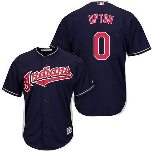 Men's Majestic Cleveland Indians #0 B.J. Upton Replica Navy Blue Alternate 1 Cool Base MLB Jersey