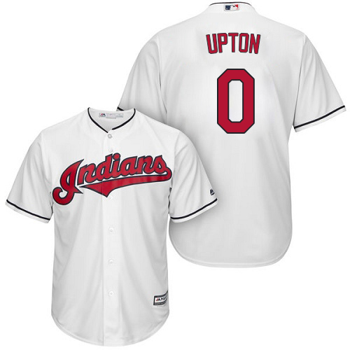 Men's Majestic Cleveland Indians #0 B.J. Upton Replica White Home Cool Base MLB Jersey