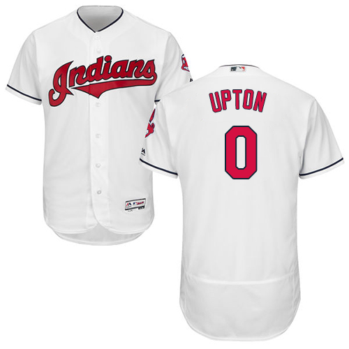 Men's Majestic Cleveland Indians #0 B.J. Upton White Home Flex Base Authentic Collection MLB Jersey