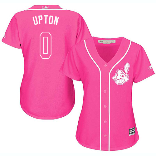 Women's Majestic Cleveland Indians #0 B.J. Upton Authentic Pink Fashion Cool Base MLB Jersey