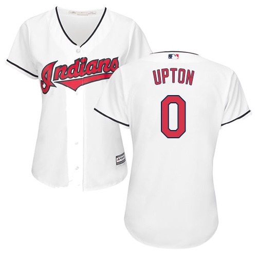 Women's Majestic Cleveland Indians #0 B.J. Upton Authentic White Home Cool Base MLB Jersey
