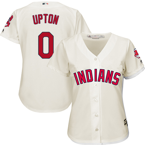 Women's Majestic Cleveland Indians #0 B.J. Upton Replica Cream Alternate 2 Cool Base MLB Jersey