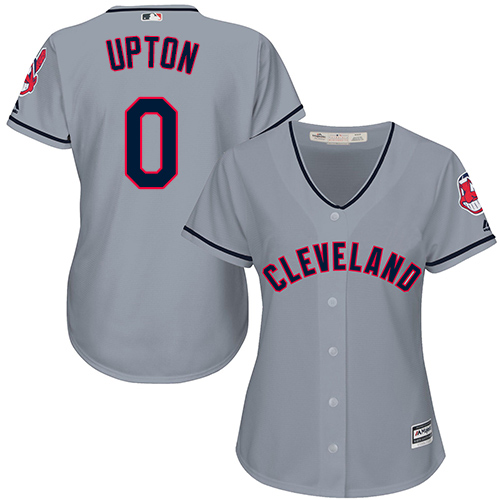 Women's Majestic Cleveland Indians #0 B.J. Upton Replica Grey Road Cool Base MLB Jersey