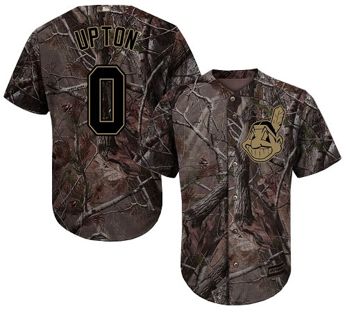 Youth Majestic Cleveland Indians #0 B.J. Upton Authentic Camo Realtree Collection Flex Base MLB Jersey