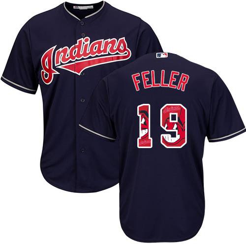 Men's Majestic Cleveland Indians #19 Bob Feller Authentic Navy Blue Team Logo Fashion Cool Base MLB Jersey