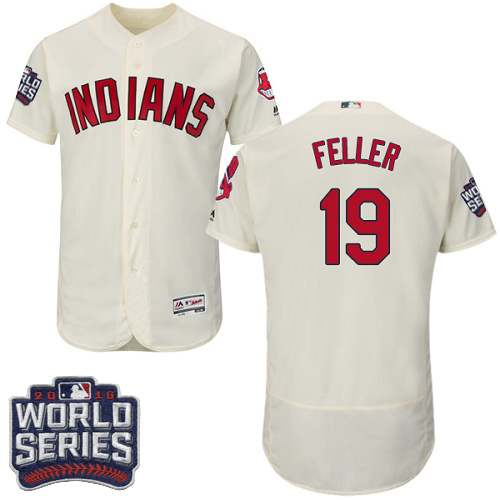 Men's Majestic Cleveland Indians #19 Bob Feller Cream 2016 World Series Bound Flexbase Authentic Collection MLB Jersey