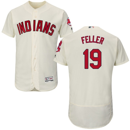 Men's Majestic Cleveland Indians #19 Bob Feller Cream Alternate Flex Base Authentic Collection MLB Jersey