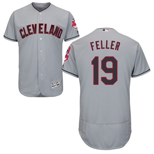 Men's Majestic Cleveland Indians #19 Bob Feller Grey Road Flex Base Authentic Collection MLB Jersey