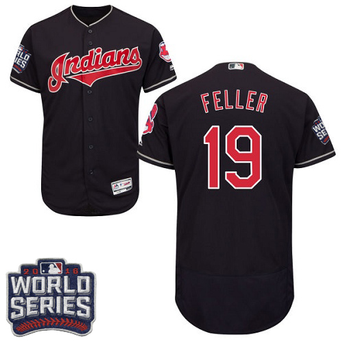 Men's Majestic Cleveland Indians #19 Bob Feller Navy Blue 2016 World Series Bound Flexbase Authentic Collection MLB Jersey