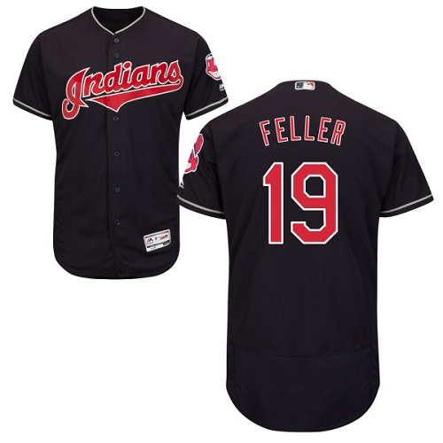 Men's Majestic Cleveland Indians #19 Bob Feller Navy Blue Alternate Flex Base Authentic Collection MLB Jersey